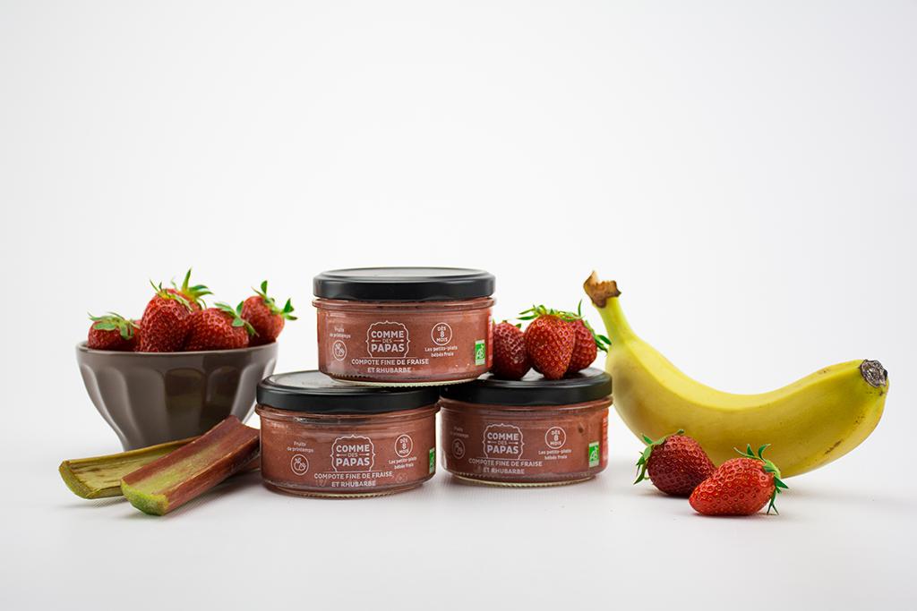 Petit pot bébé : Petite compote fine fraise & rhubarbe